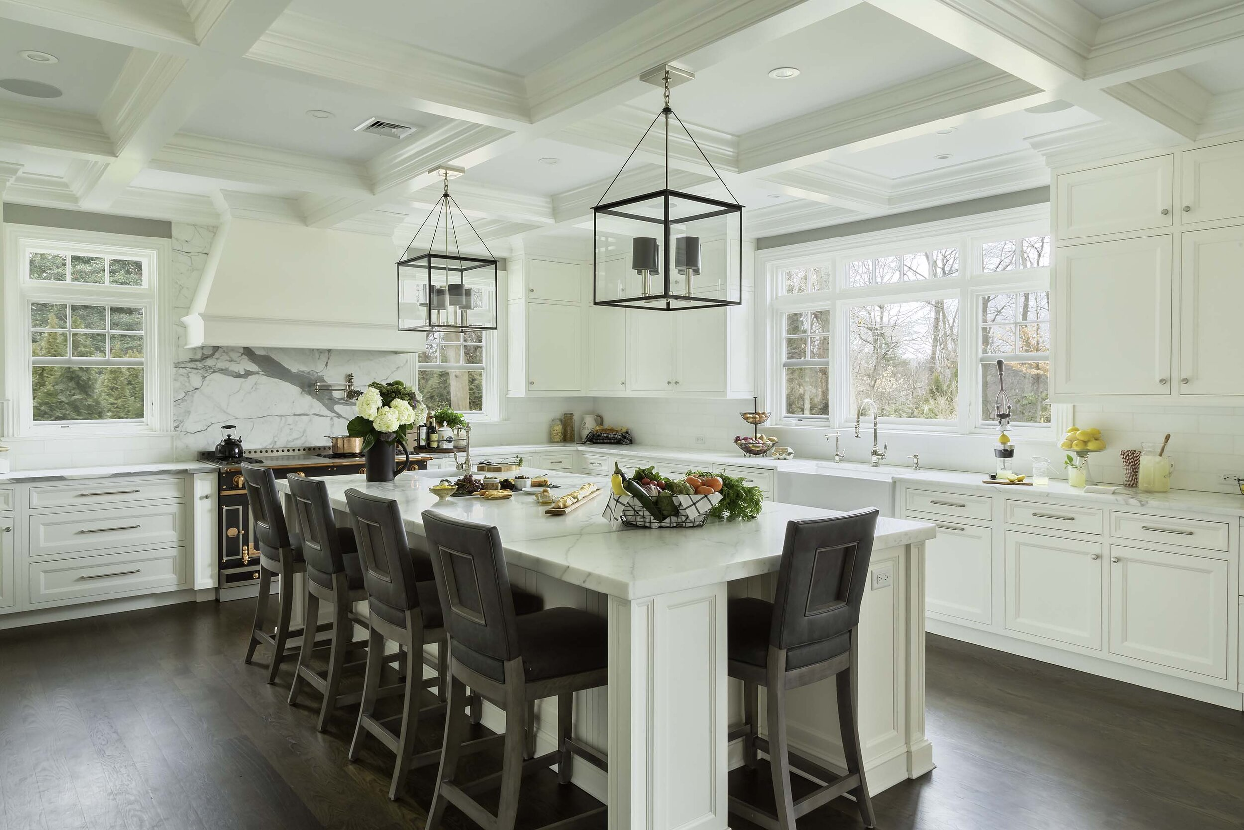 Transitional white kitchen with coffered ceiling