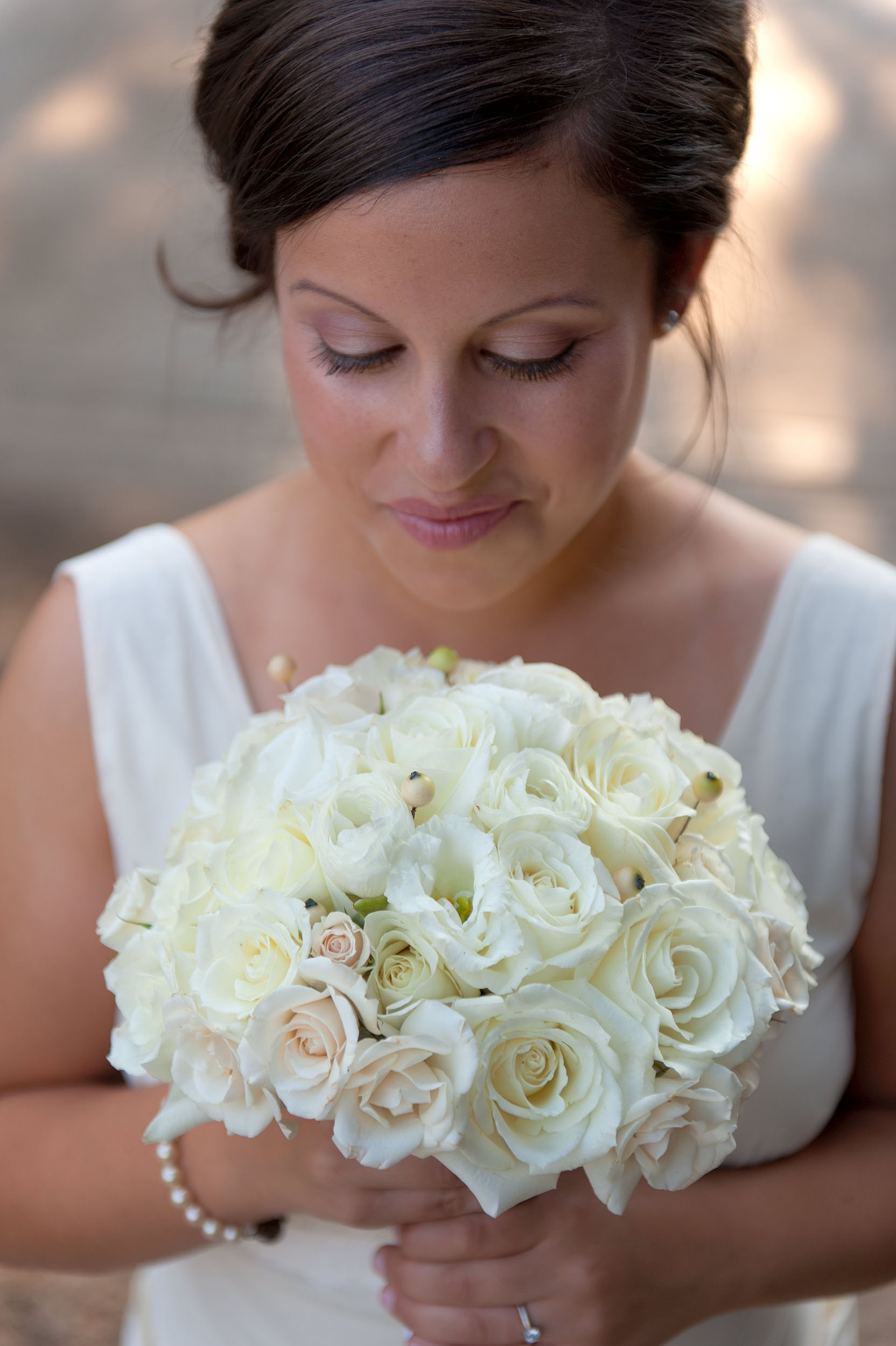 Bride with bouquet at Citrus Park Wedding & Events in Riverside.