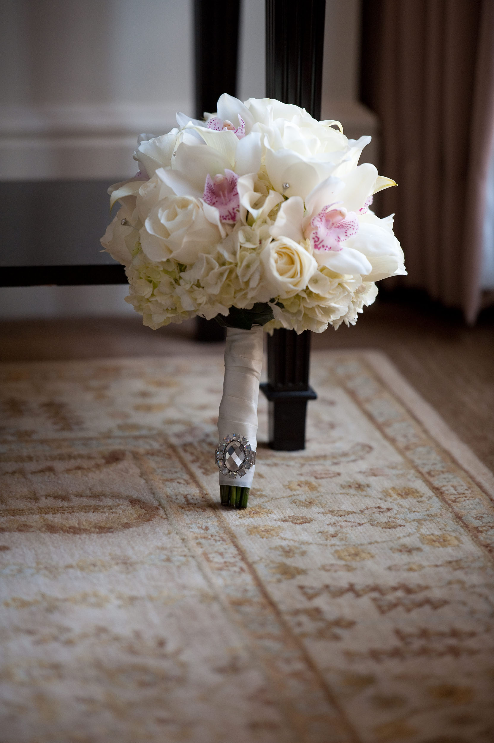 White and pink bride's flower bouquet.