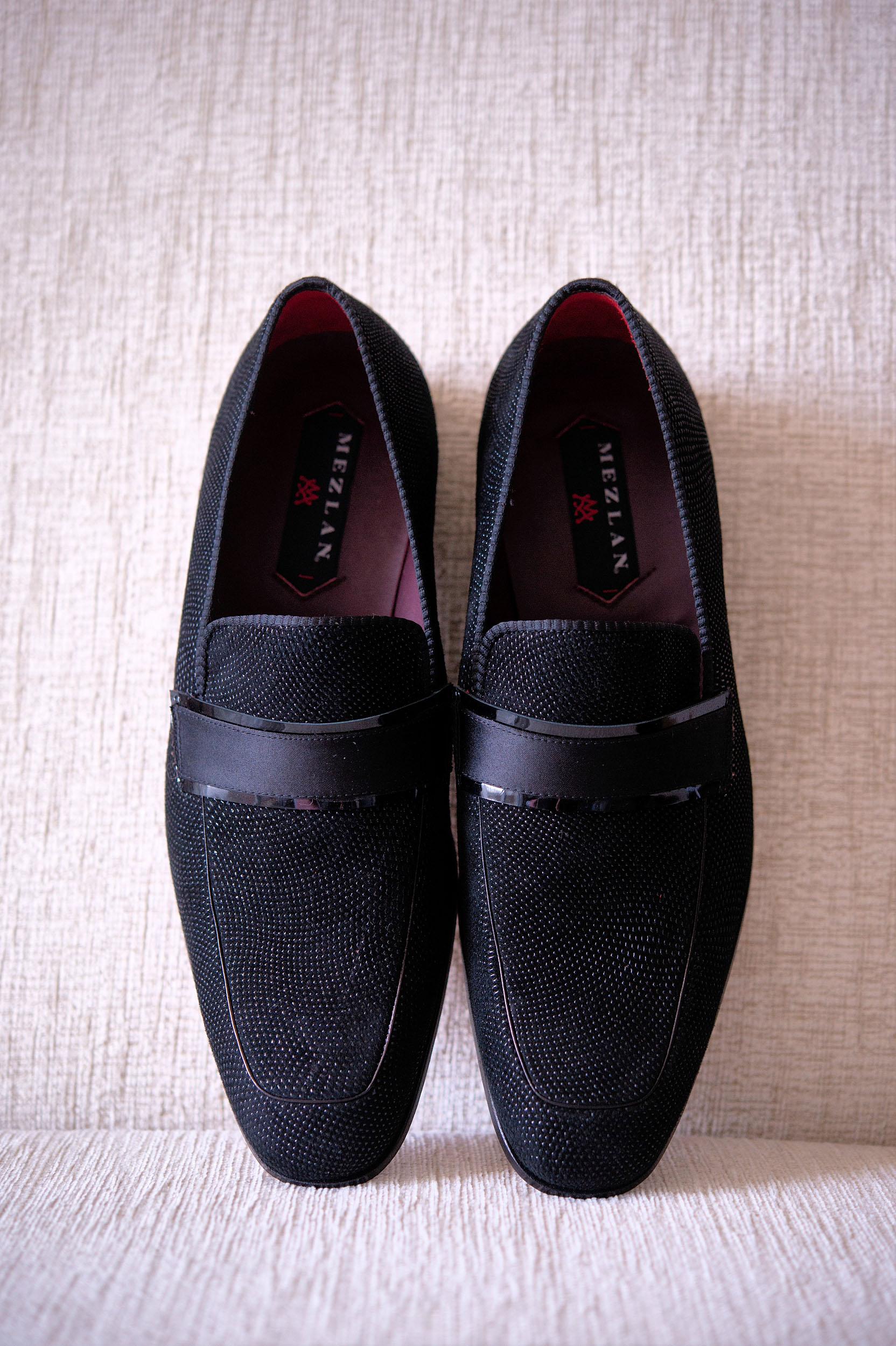 Groom's Mezlan dress shoes detail.