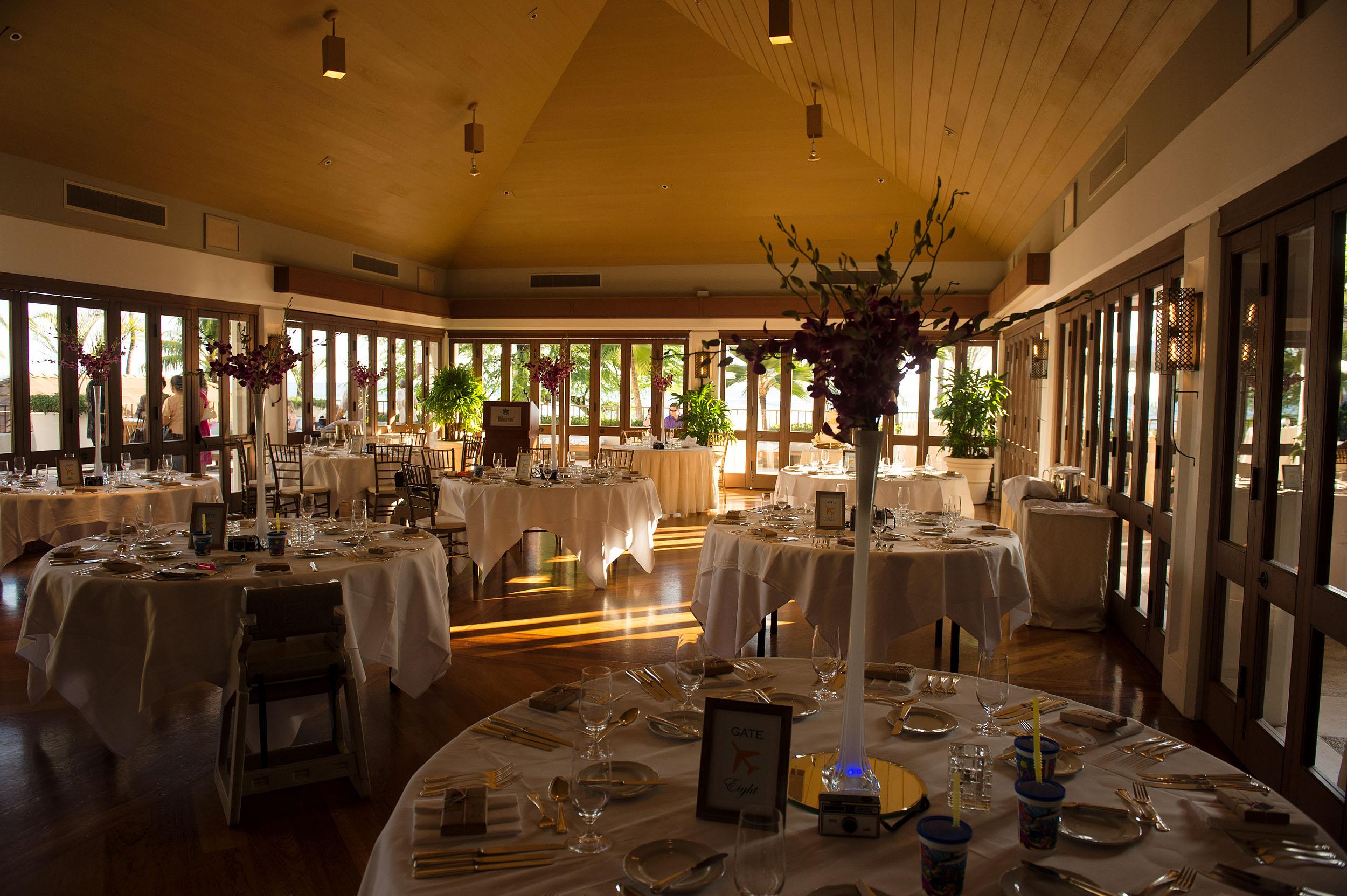 Wedding reception room at the Halekulani Hotel in Honolulu.