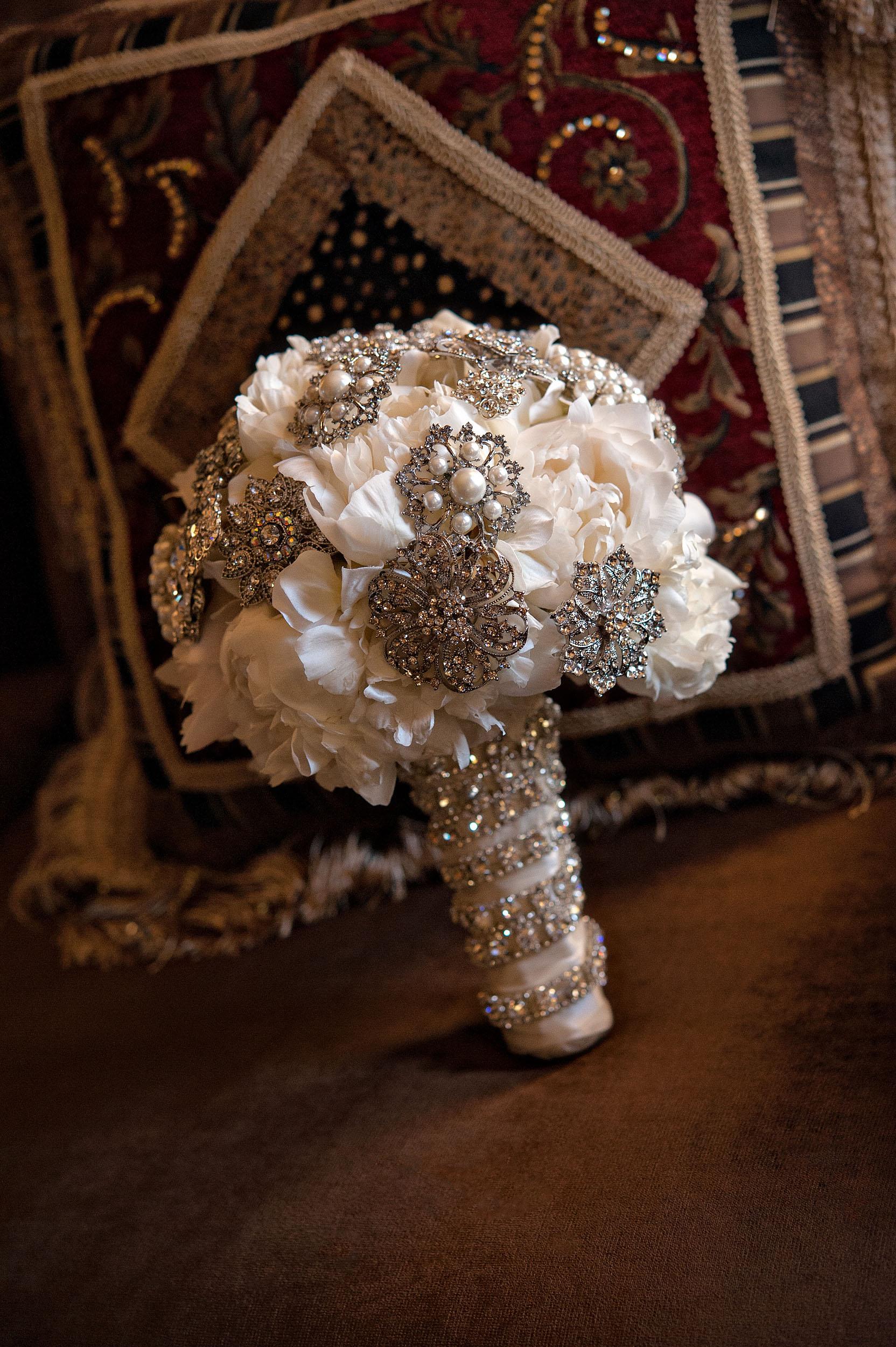 Bride's bejeweled bouquet.