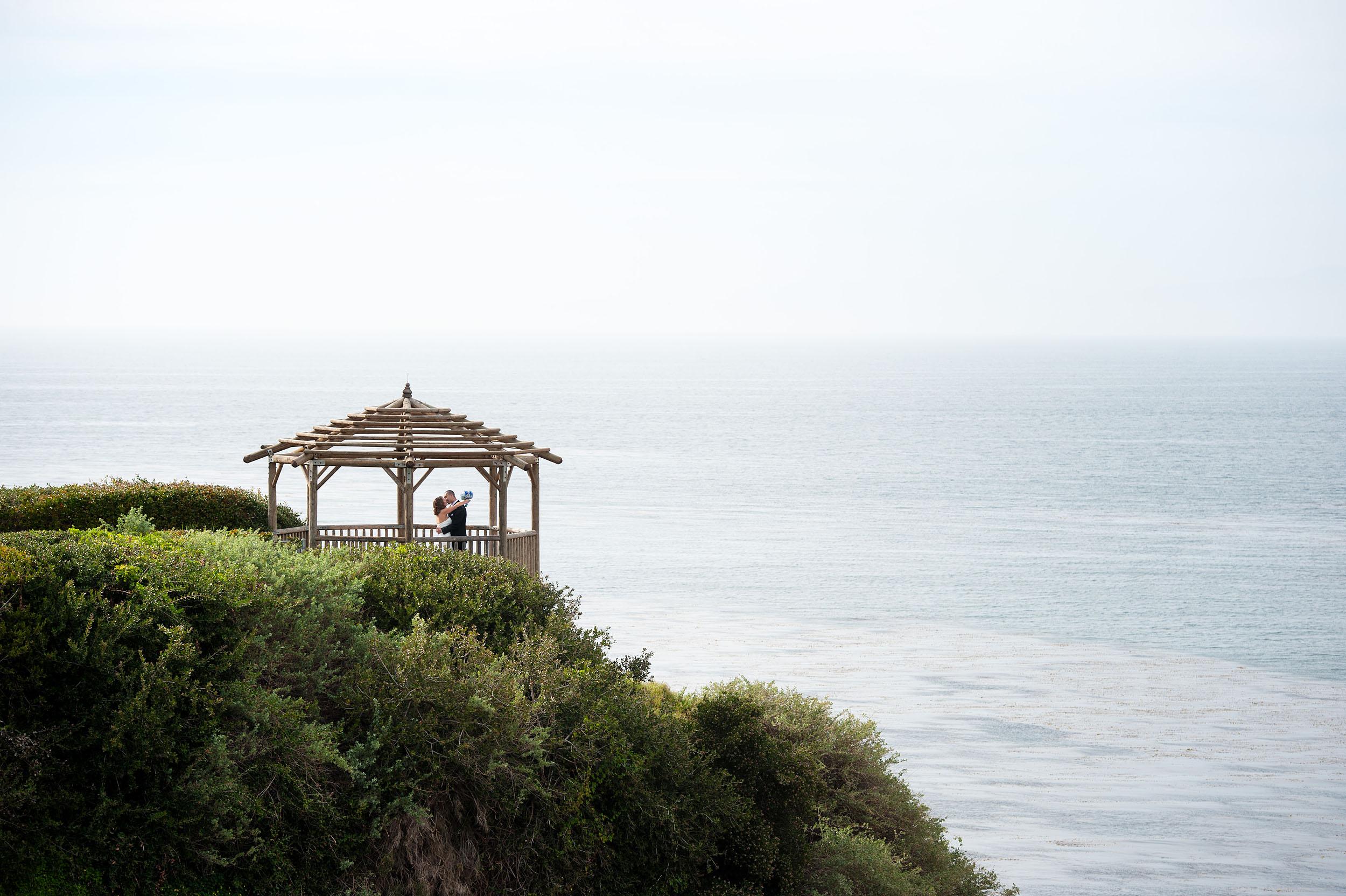 Bride and groom at gazebo in the Rancho Palos Verdes Peninsula.