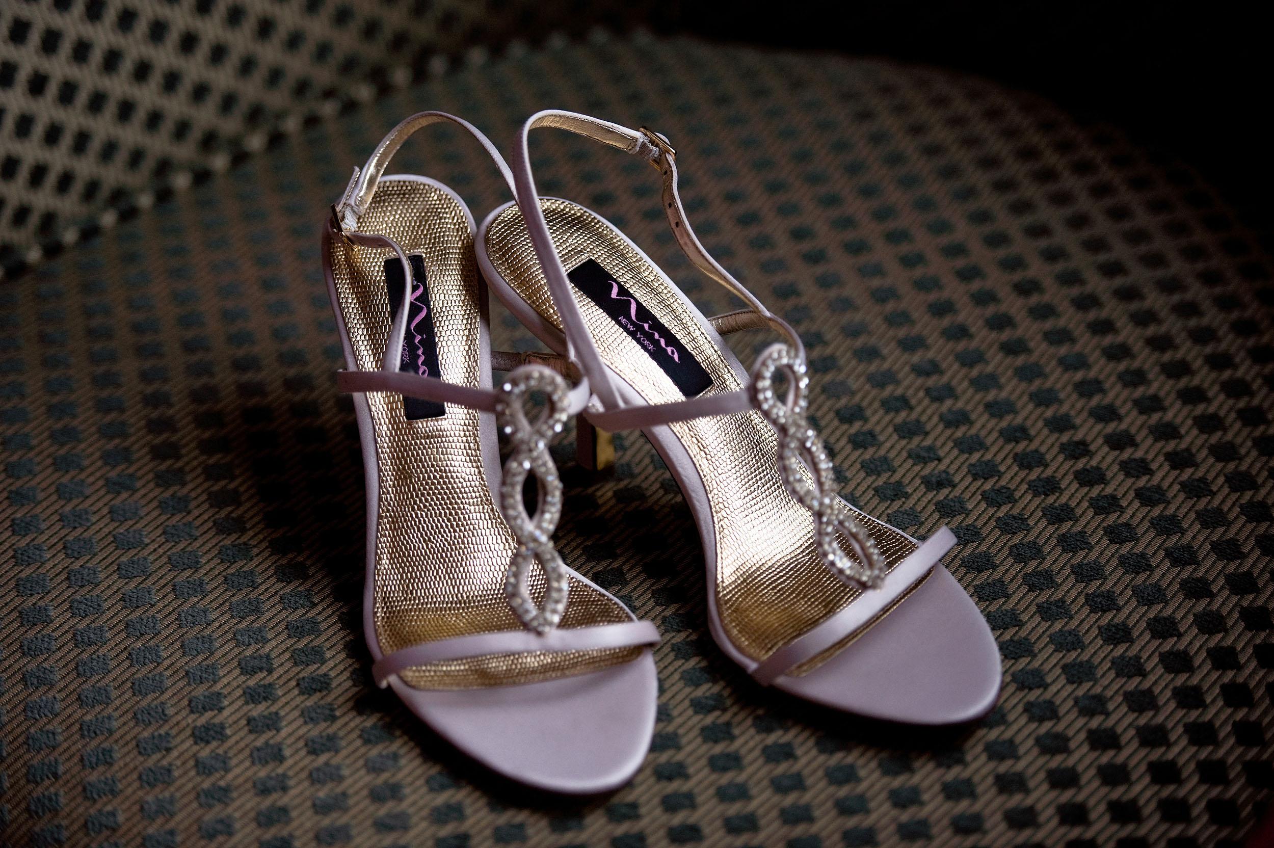 Bride's Nina New York wedding high heel shoes.