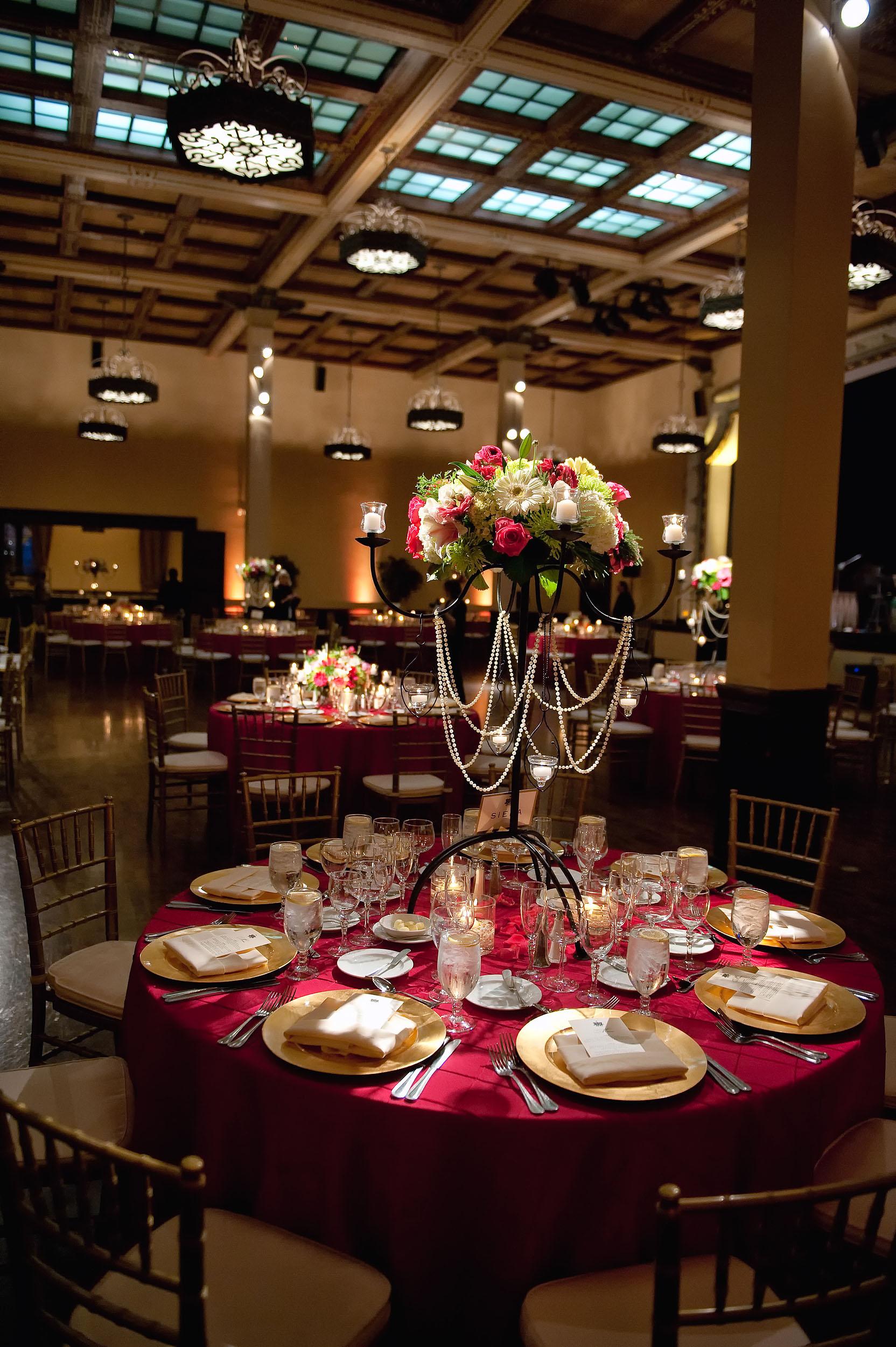 Wedding reception ballroom at the Prado at Balboa Park in San Diego.