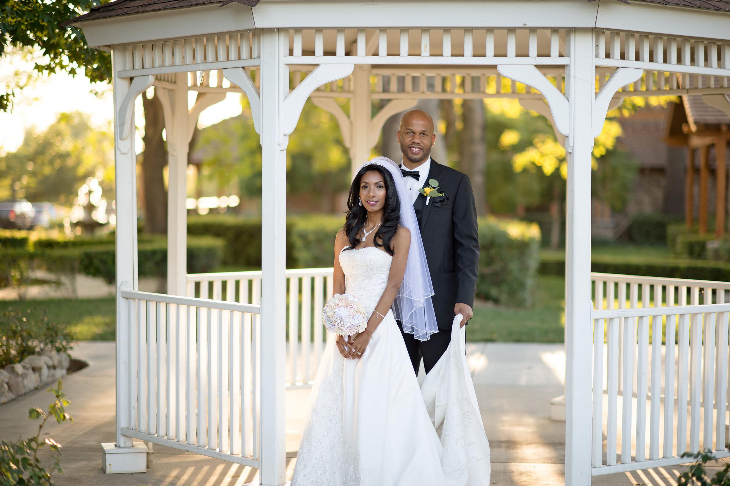 Bride and groom at the gazebo at  CCV SoCal (Etiwanda Campus) in Rancho Cucamonga.