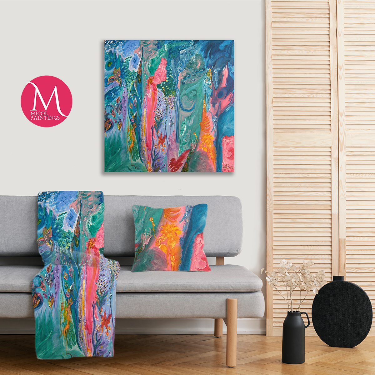 With one gorgeous piece of artwork we can create several matching items to complement your decor.