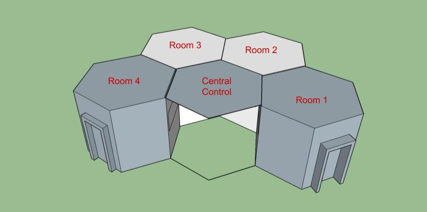 Sketchup model of the 5 rooms by Theresa Carranza