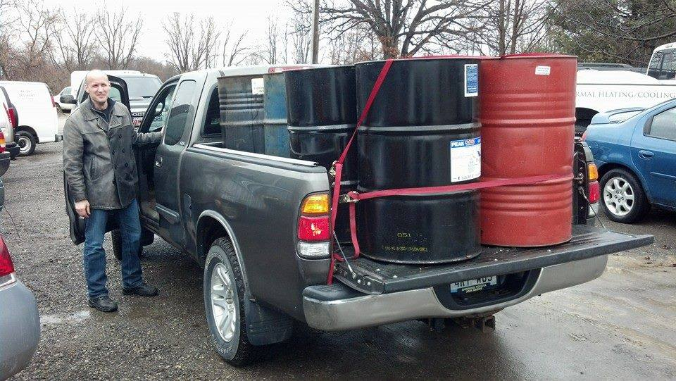 Picking up the 55-gal drums