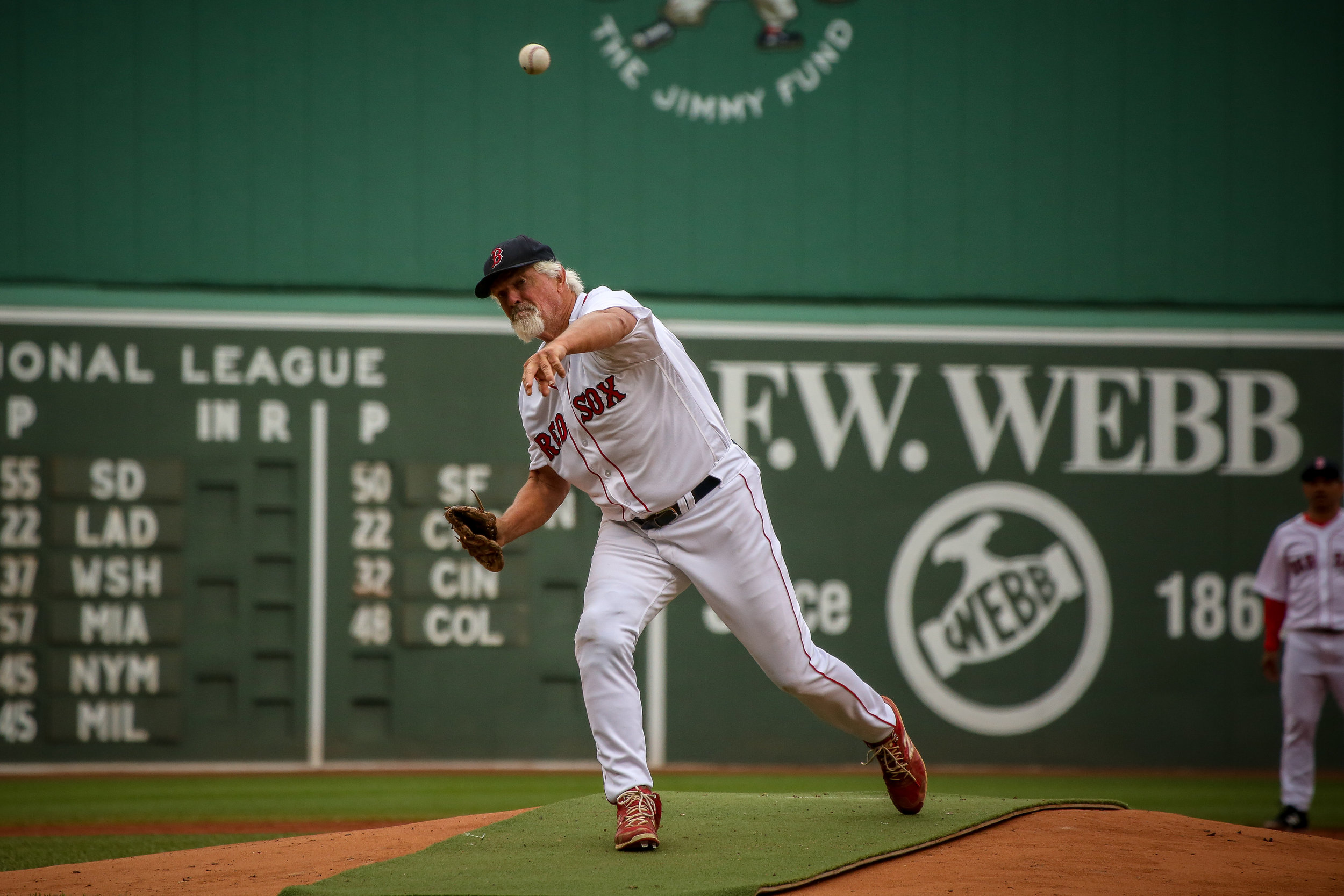 "Bill ""the Spaceman"" Lee pitches for Team Dewey during the 2018 Red Sox Alumni Game."