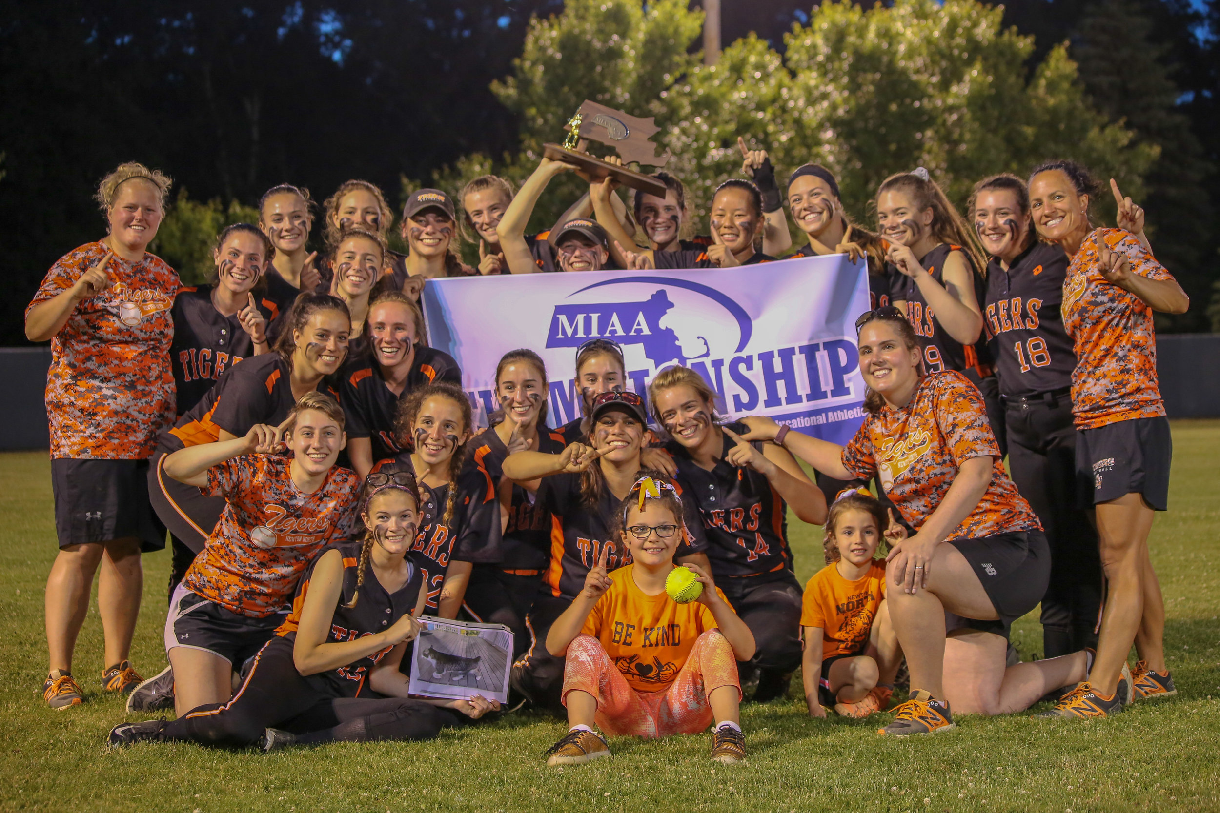 Newton North high school's 2018 varsity girls softball team won the Division 1 North title in the MIAA tournament, beating Metheun six to three and going back-to-back with their championships.