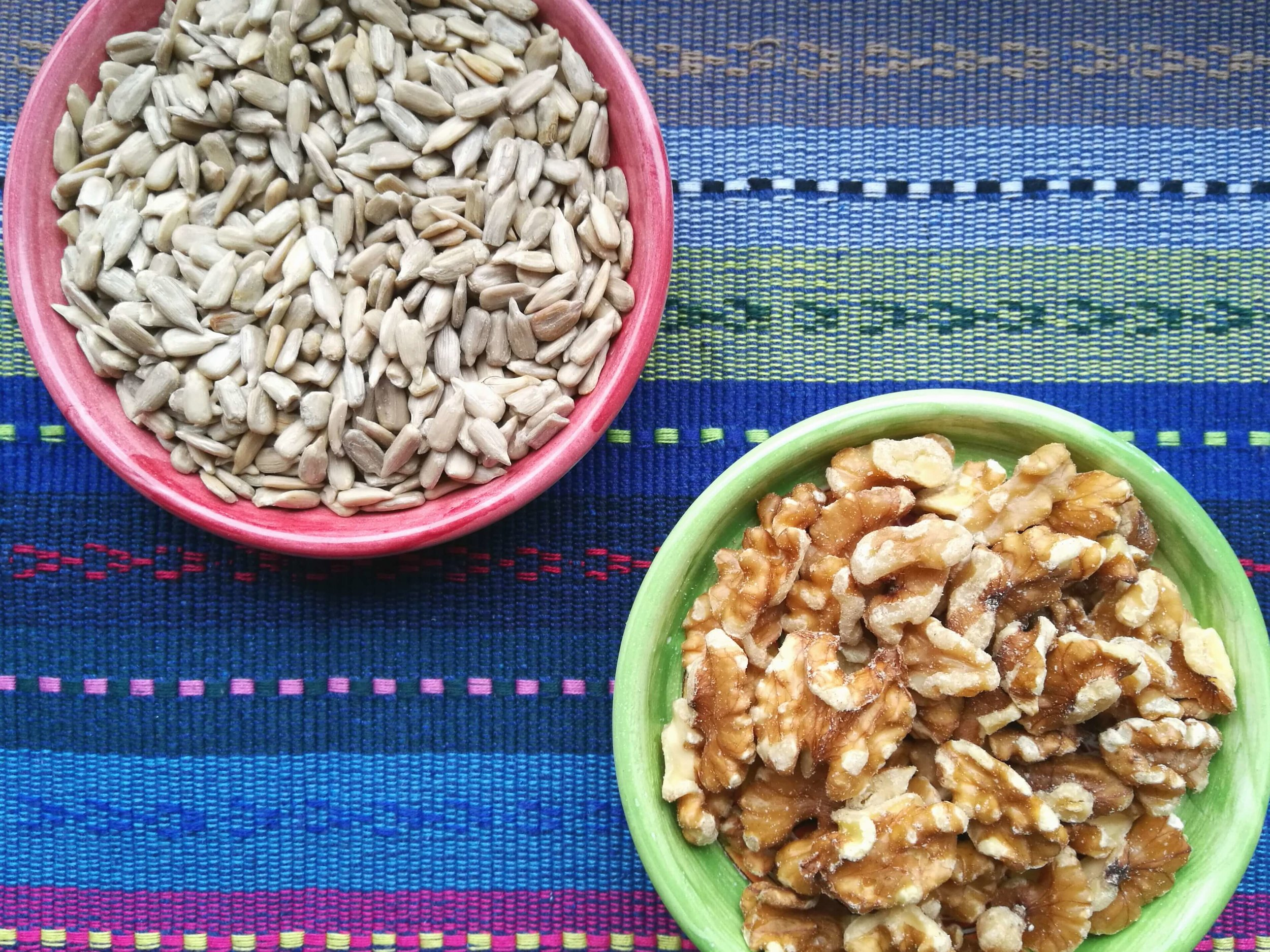 Sunflower seeds and walnuts, like other seeds and nuts, are great sources of protein.