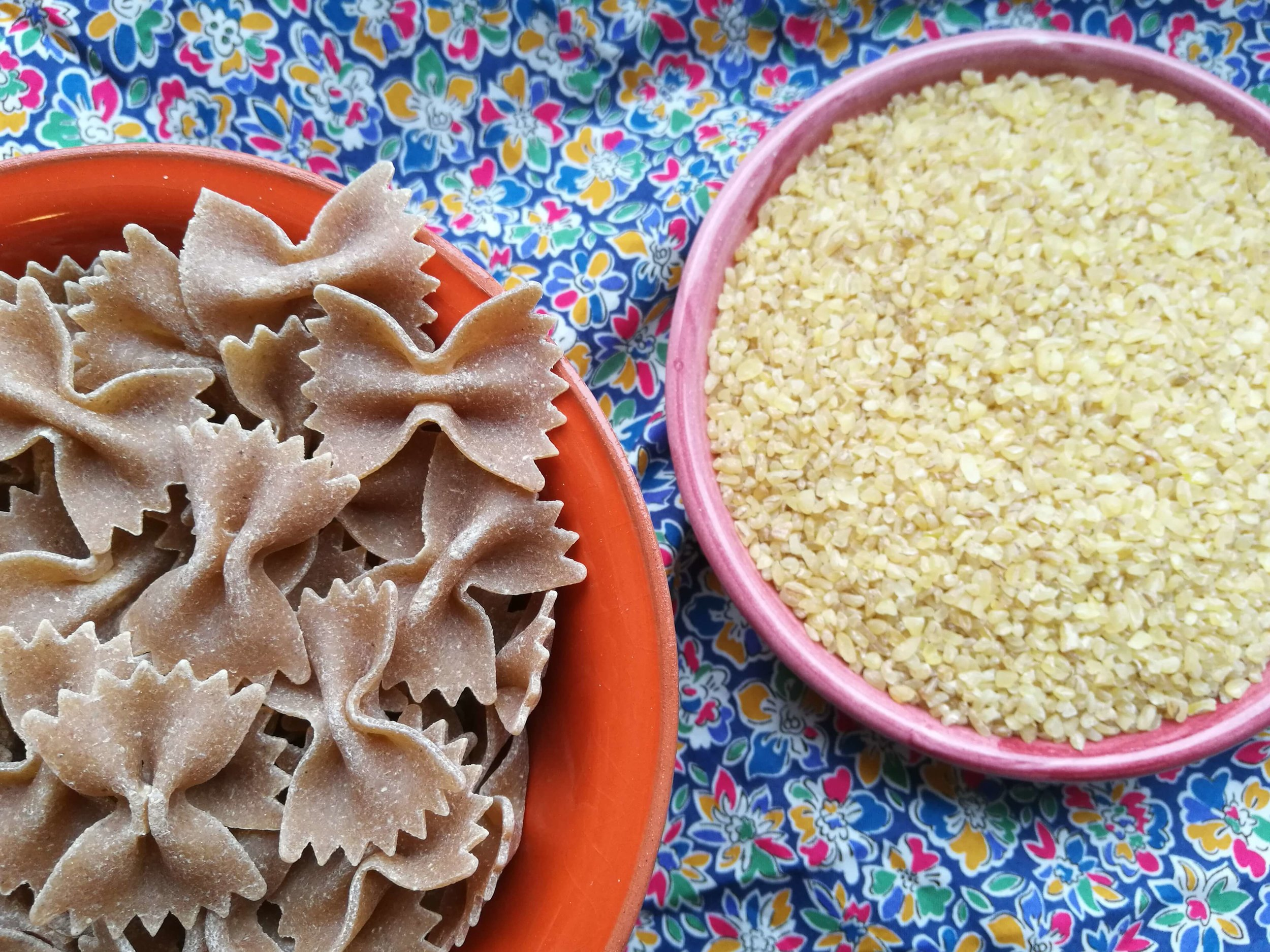100% whole-wheat pasta bows and bulgur – just some of the whole grain protein sources out there.