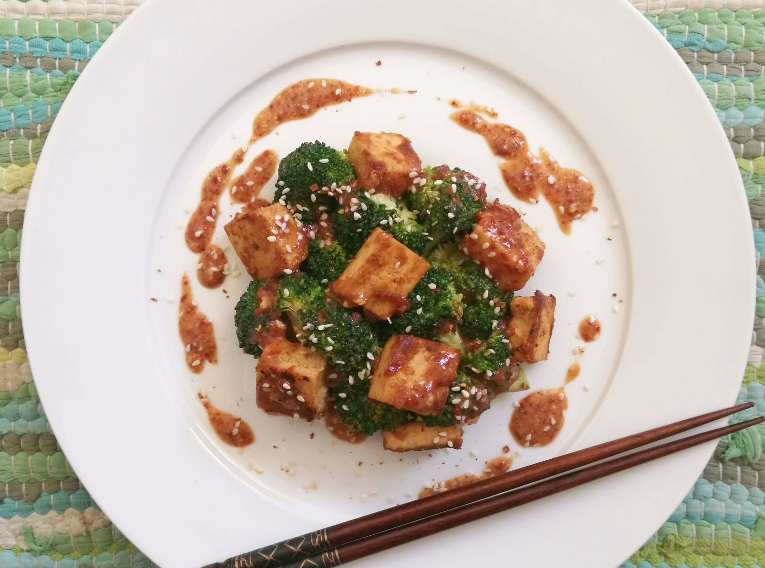 Broccoli and tofu salad… a double-protein-whammy!