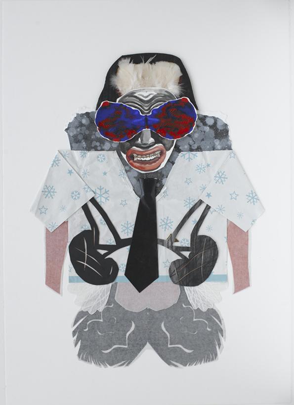 Jacqui Stockdale  Schoolboy Guru, 2010  Paper collage elements 100 x 70cm