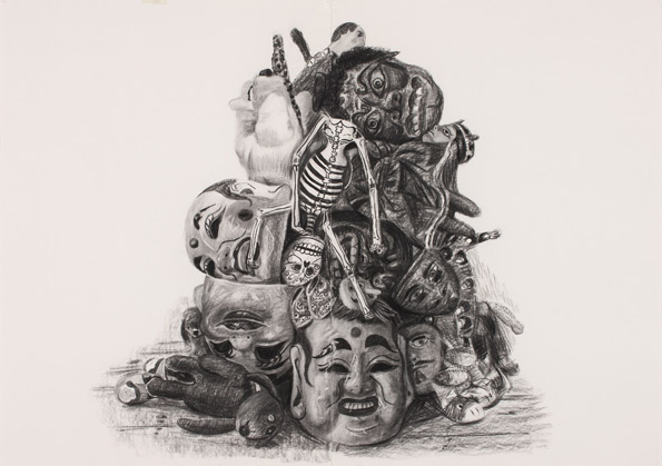 Jacqui Stockdale  No Man an Island#1, 2010  Charcoal on paper 100 x 140cm