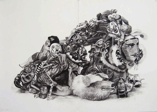 Jacqui Stockdale  No Man an Island#3, 2010  Charcoal on paper 100 x 140cm