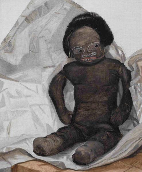Jacqui Stockdale  Babe in Butcher's Paper, 2008  Oil on linen 56 x 46cm, 2008
