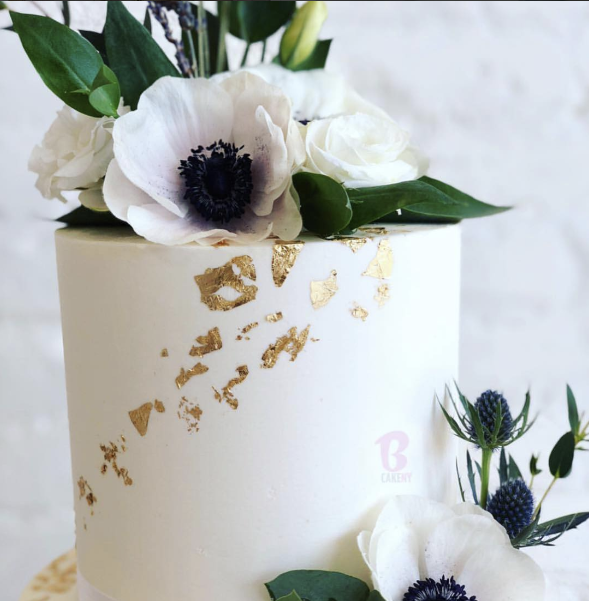 detail of floral buttercream cake