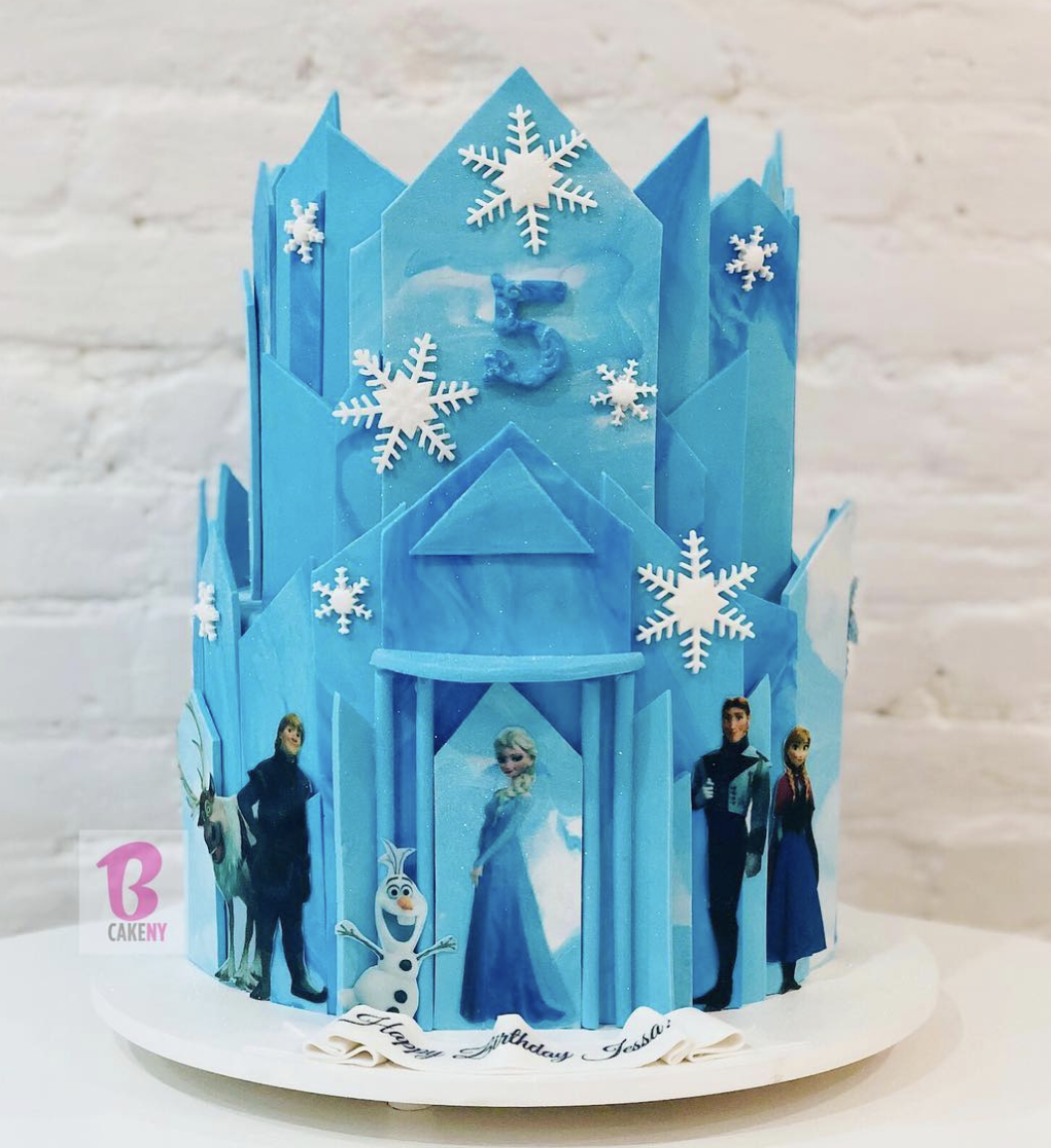 frozen movie themed cake 2 tiers