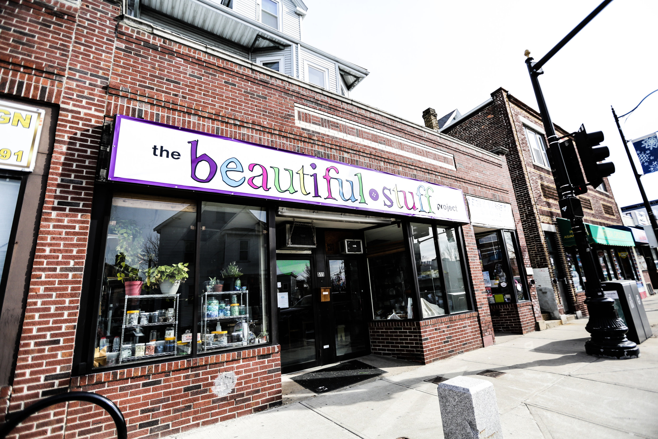 Storefront of The Beautiful Stuff Project in Somerville, MA
