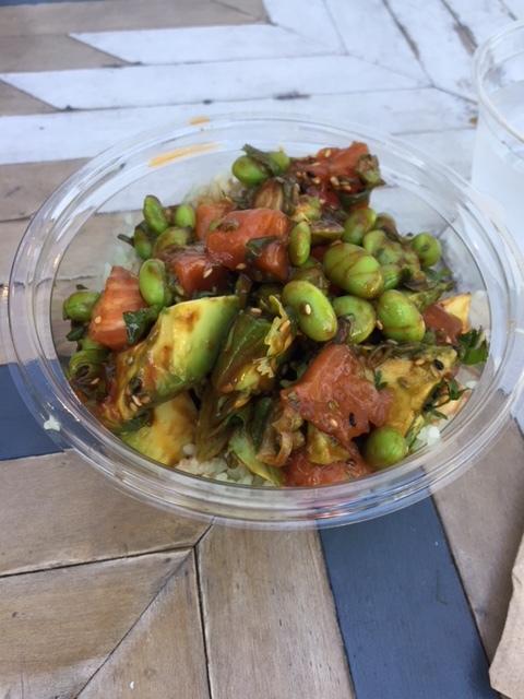 My fave Poke bowl combo...Gochujang salmon, avocado, edamame, chili oil, cilantro on bamboo rice. YUM!