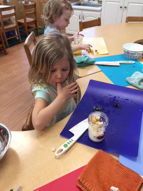 Kids cooking - making yogurt parfaits