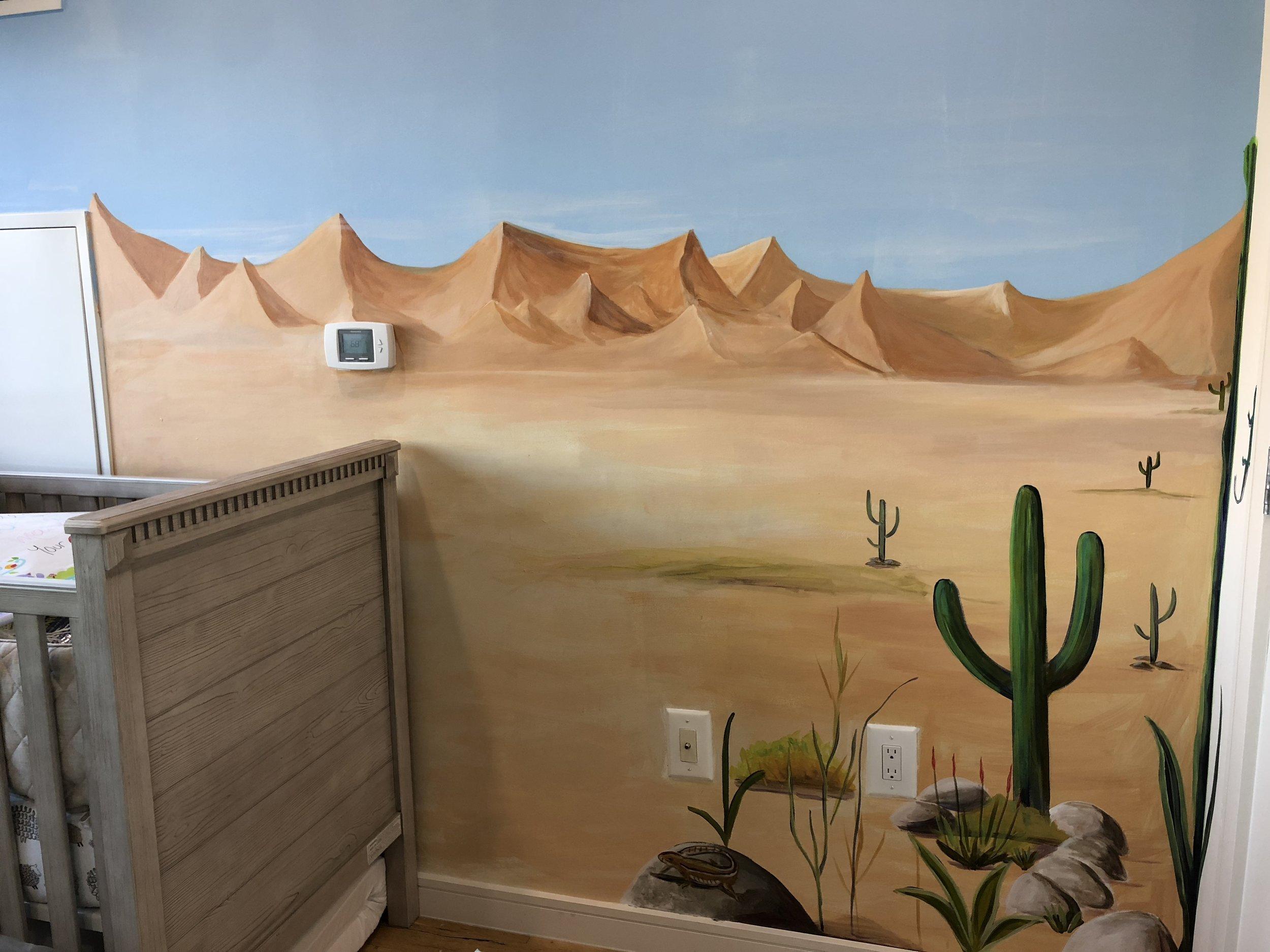 Desert mural in a nursery