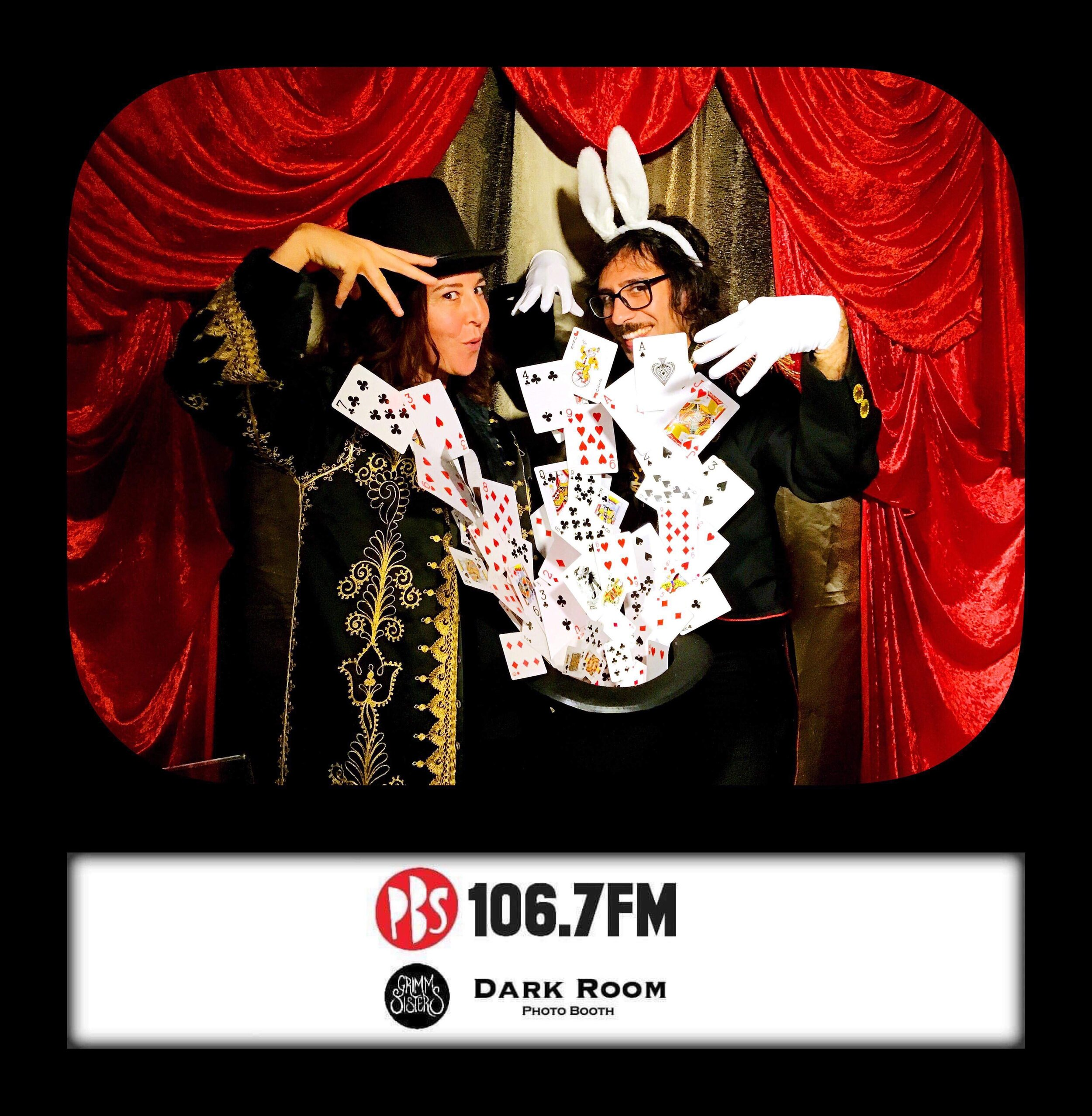PBSFM Radio Festival Launch - Work Your Magic  Event styling for the week of PBSFM's annual radiothon and a custom built parlour magic themed Dark Room photo booth. Featuring props such as exploding hat of tumbling cards, embellished show jackets and handmade life-sized sawed in half magic trick.