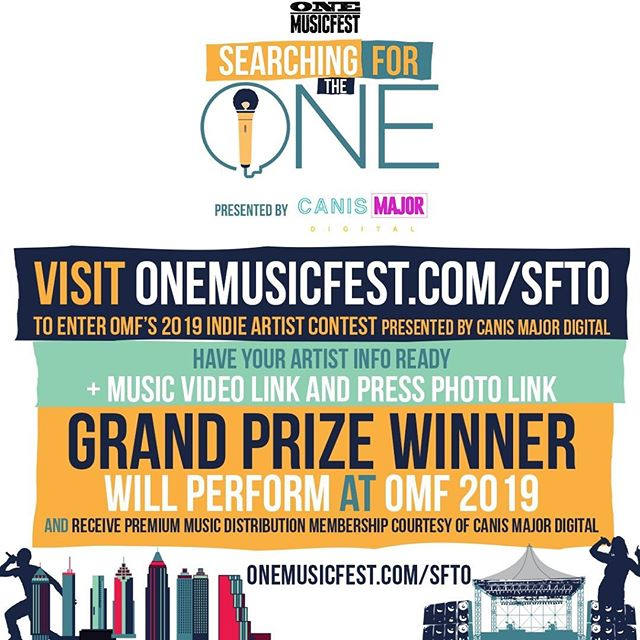 Indie artists! Here's your chance! Each year @onemusicfest does an open call for independent artists across the nation to find ONE (or a couple) incredible artists to perform at ONE Musicfest and win a grand prize package to further your music career. Use the LINK IN BIO to apply for Searching for the ONE, presented by Canis Major Digital 🎶🙌🏾🌟 #SFTOxCMD  The contest is open to all independent artists in the U.S. and there is no cost to enter.  Artist submission deadline is Wednesday, July 31st, 2019 at 11:59 pm ET. *Note this is the ONLY indie artist performance opportunity that ONE Musicfest offers. If you are contacted about an OMF performance opportunity outside of this contest, that opportunity is not valid or authentic.