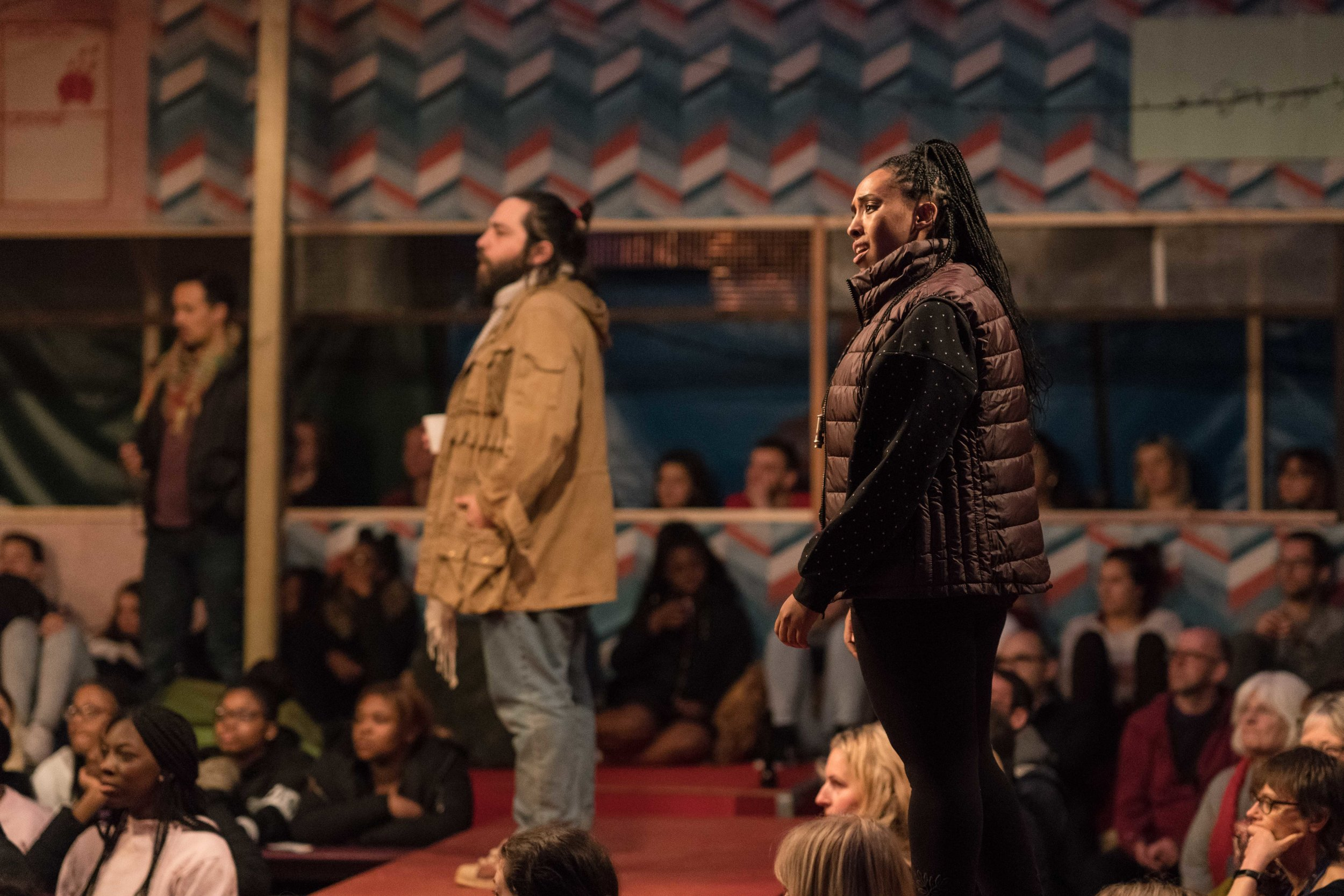 Ammar Haj Ahmad (Safi) and Nahel Tzegai (Helene) in The Jungle at the Young Vic © Leon Puplett.jpg