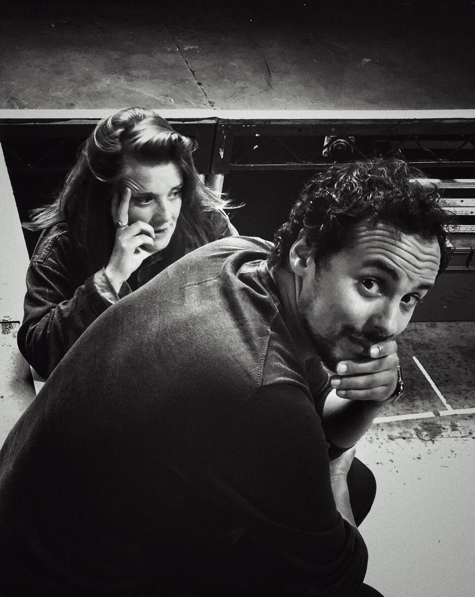 Rashid Sabitri and Jo McInnes in rehearsals for The Jungle