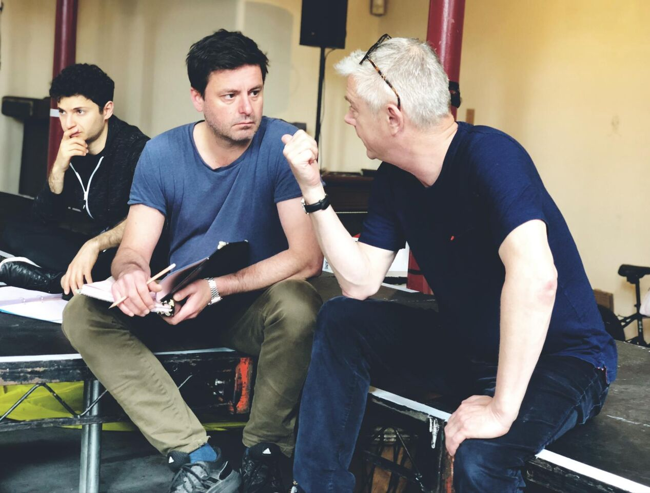 Dominic Rowan and Stephen Daldry in rehearsals for The Jungle