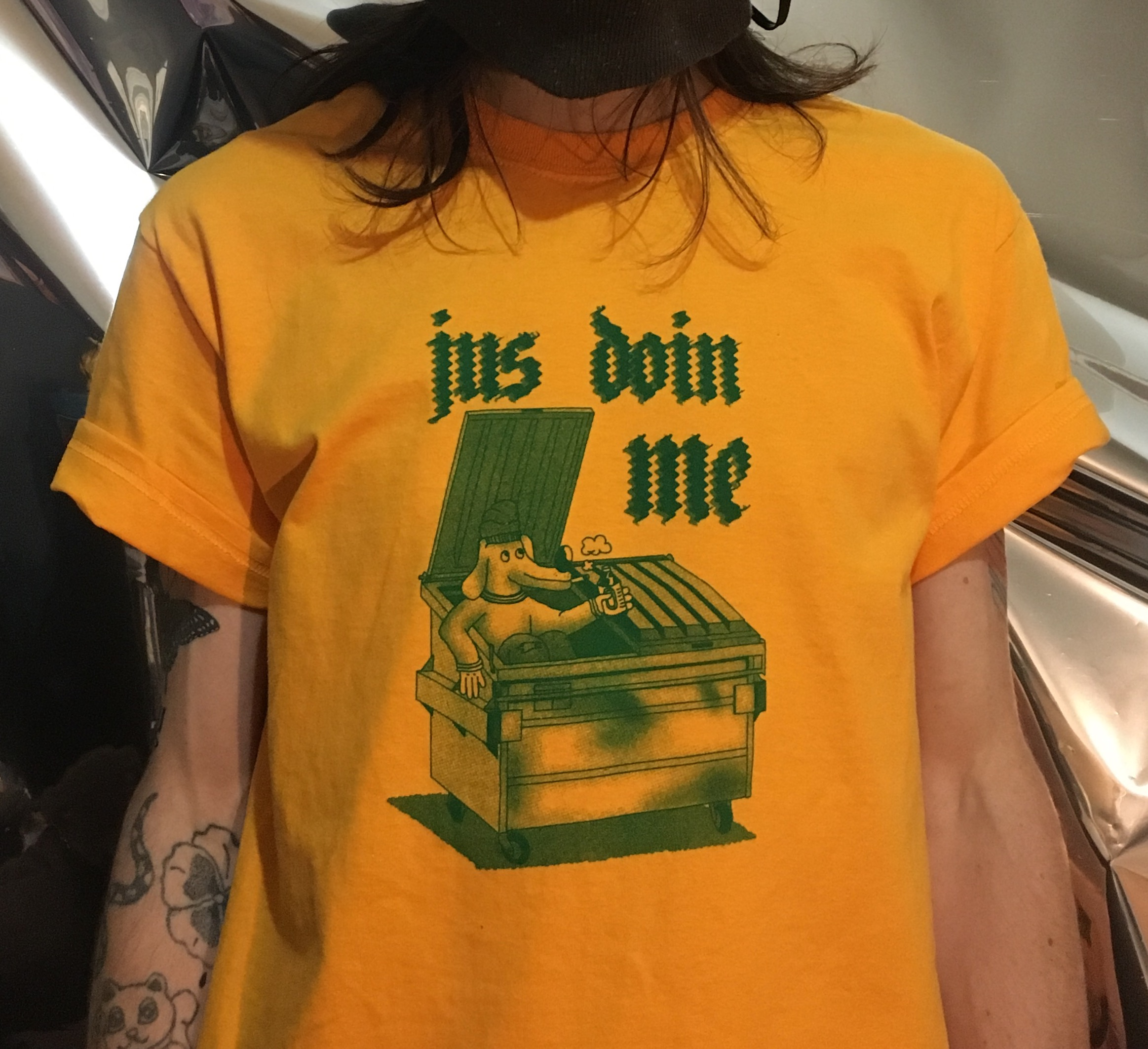 Jus Doin Me shirt - $12 + shipping  Kelly green screenprint on goldenrod Gildan Comfort tee. Available in S, M, L.