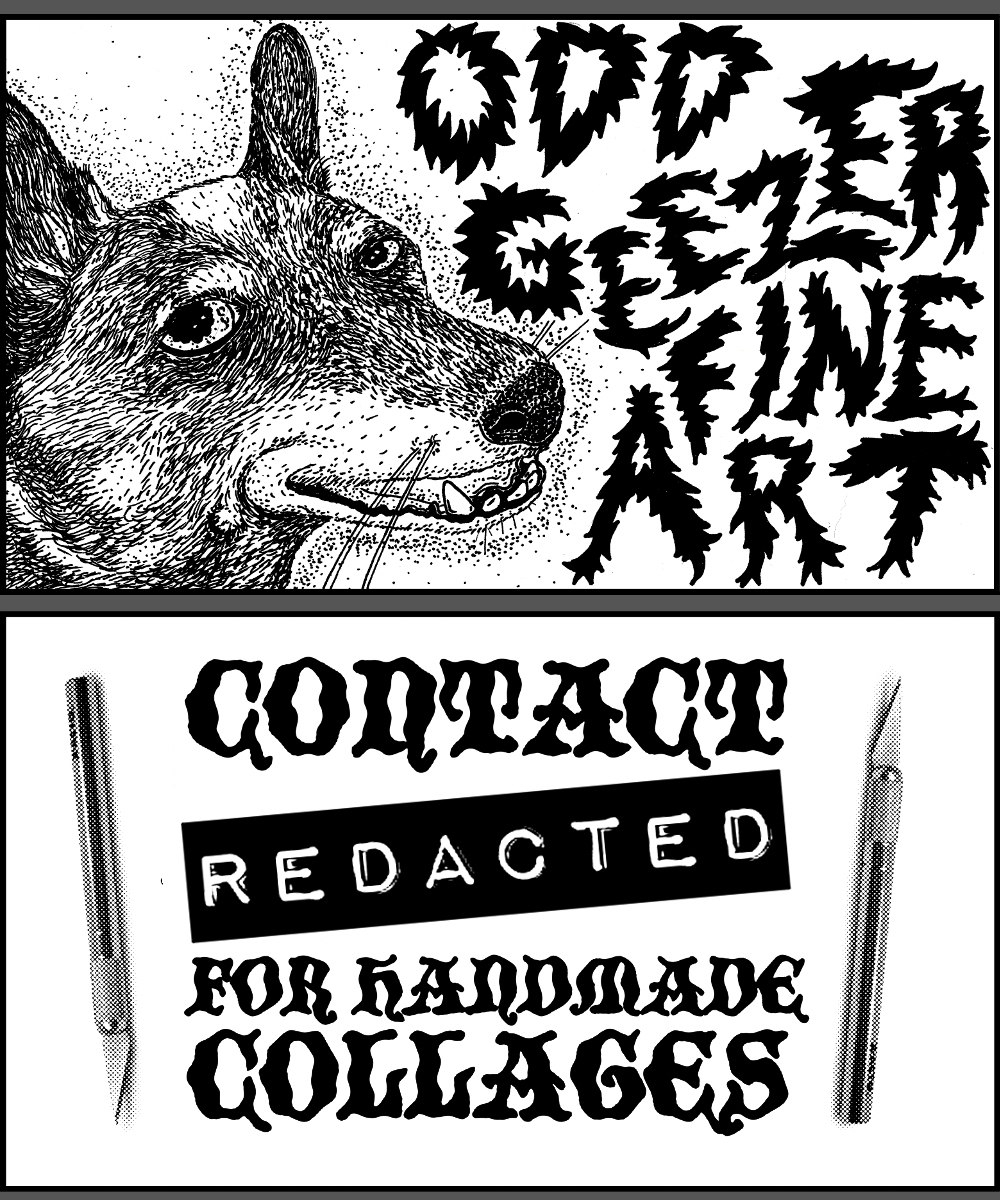 Business card for Odd Geezer Fine Art (front and back)