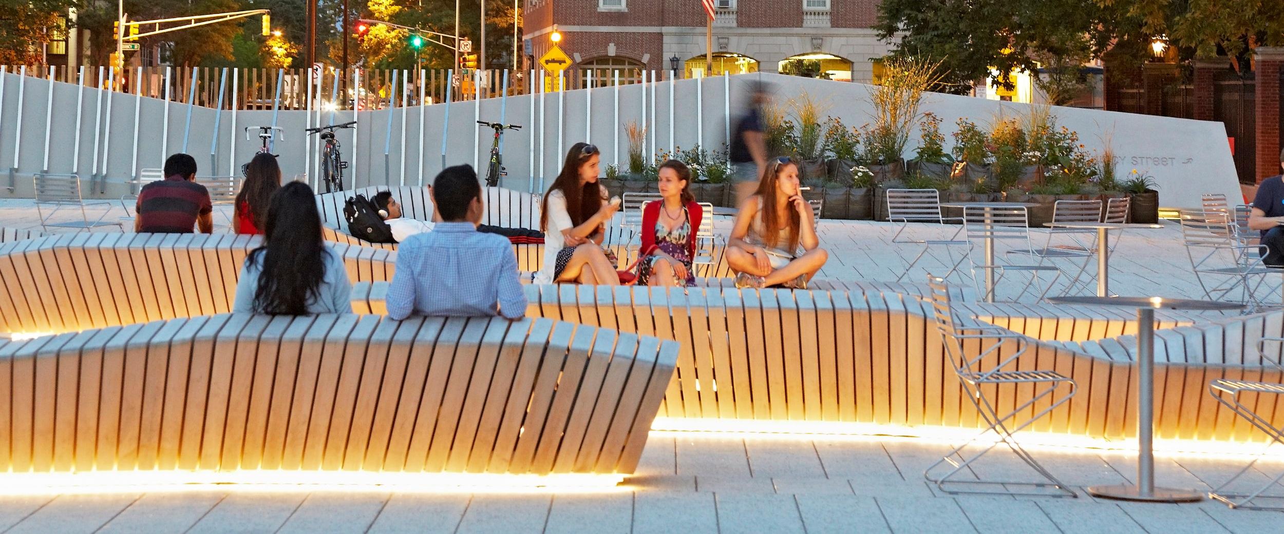 Harvard University Plaza custom designed benches.