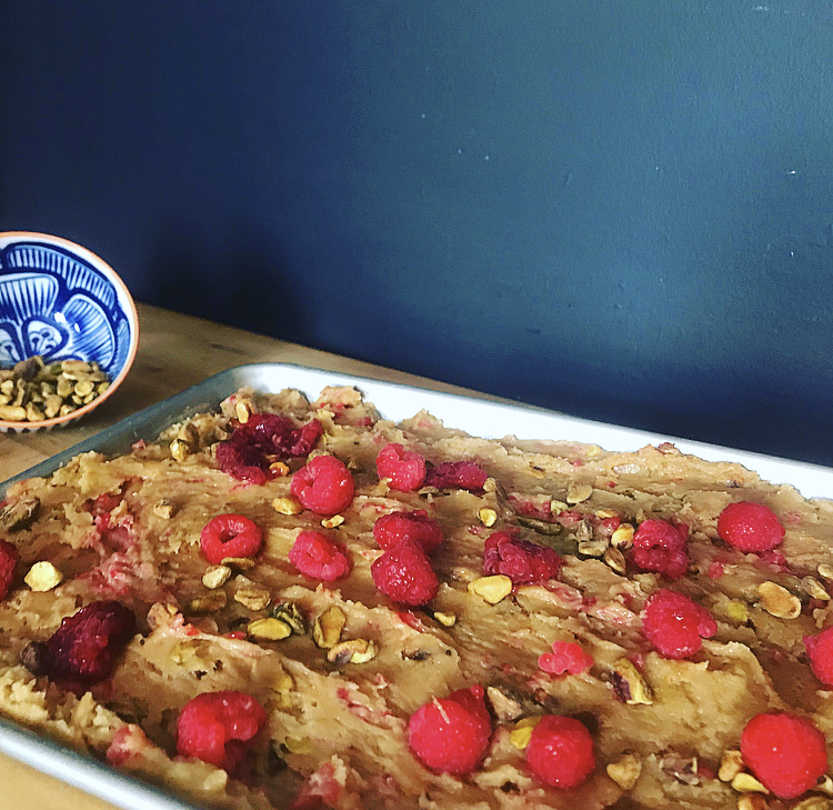 If you forget to reserve half of the berries and nuts, that is totally fine, there is literally no problem if you do. I like to keep some to sprinkle on the top because it adds a nice pop of color and it looks really pretty, but again, no problem whatsoever if they are all mixed in.