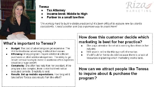 Here's a sample persona created for a client.