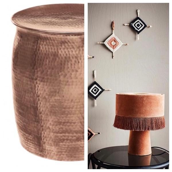Orrico Rose Gold side table from @habitatuk. Fringed, velvet table lamp from @astellahrela