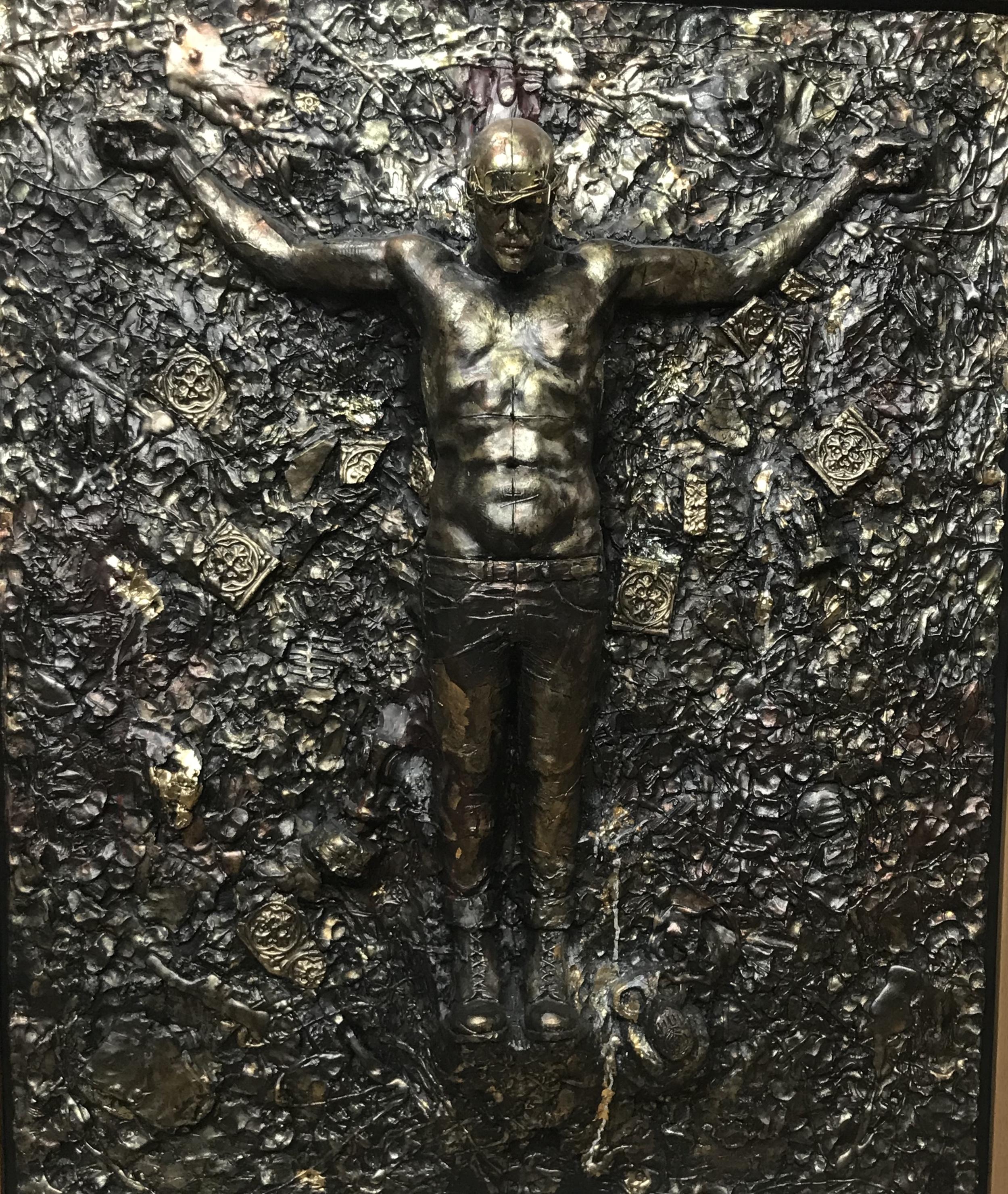 Mixed Media Sculpture by Dean Kemp depicting a modern day Christ