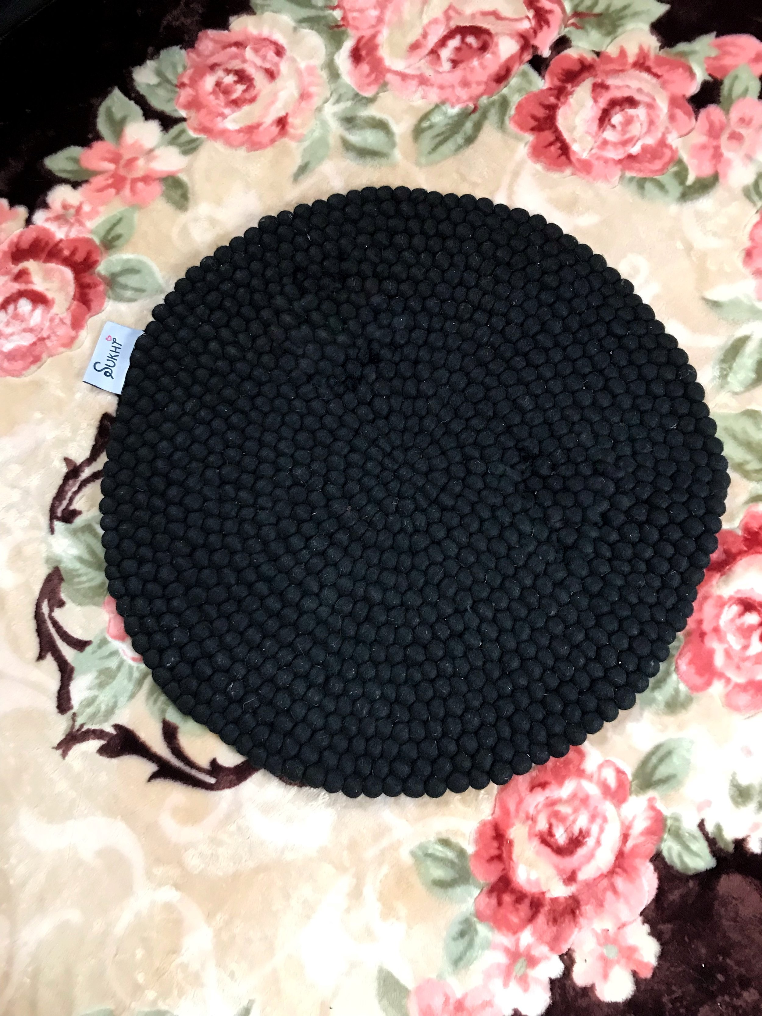 I chose the Jessica Round Wool Rug in Black