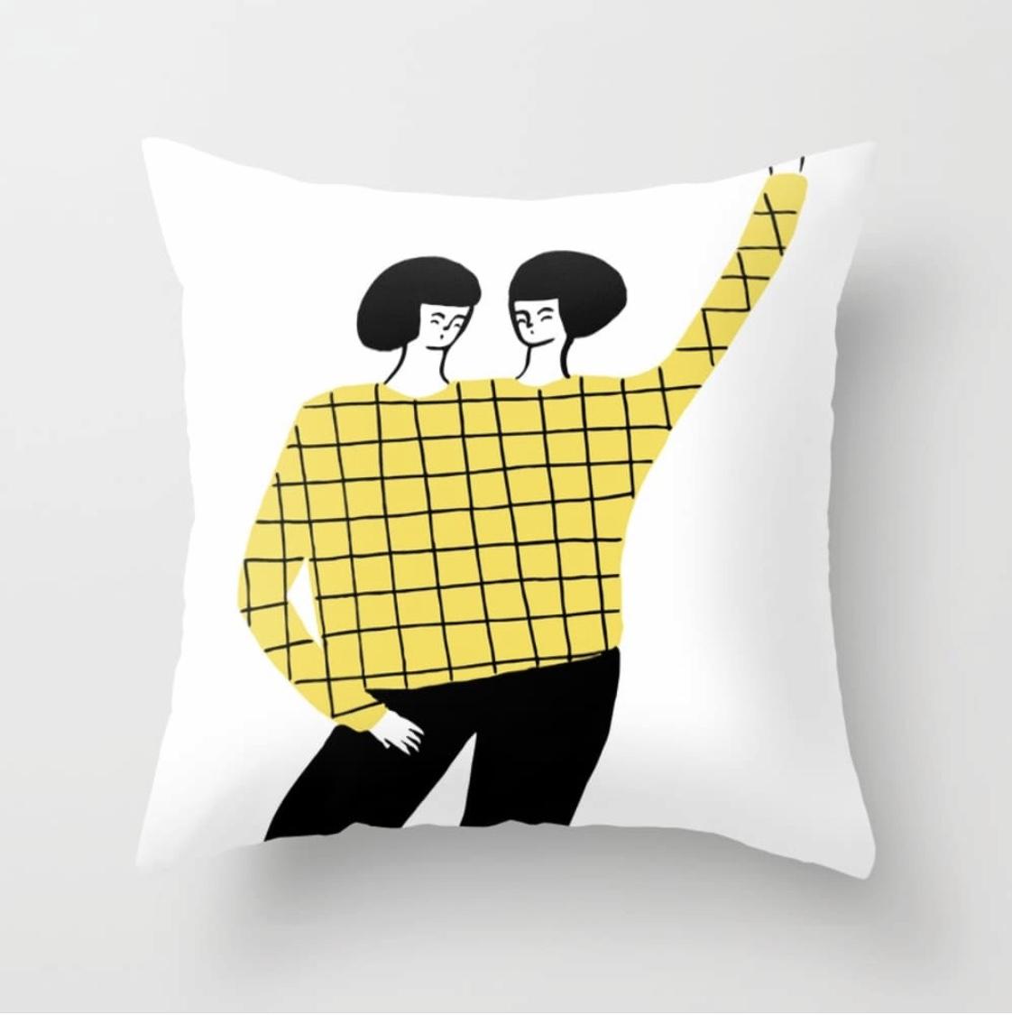 Dancing with myself pillow by Regina Rivas Bigorda @society6