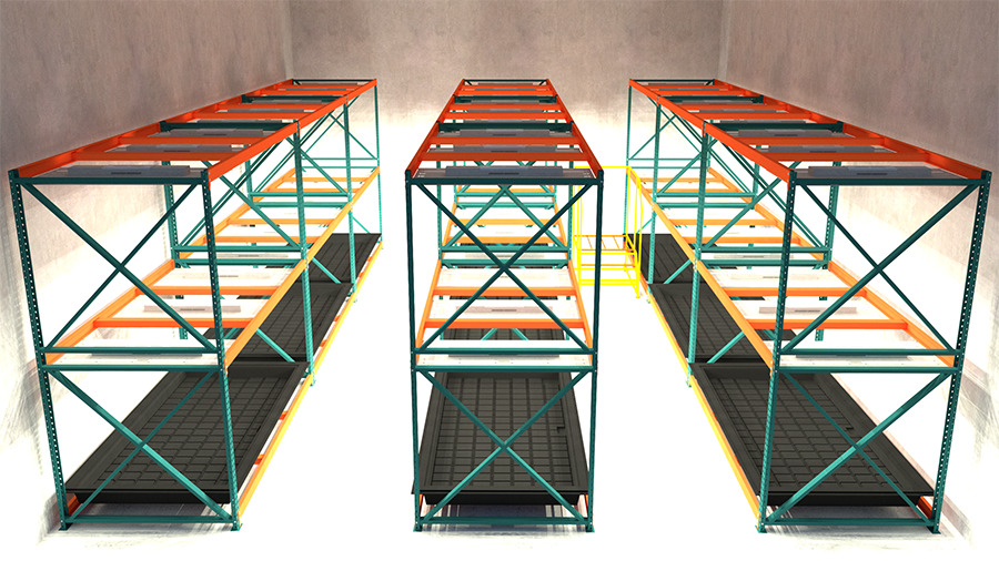 LED lights allow for double stacking functions shown here with pallet rack solutions.