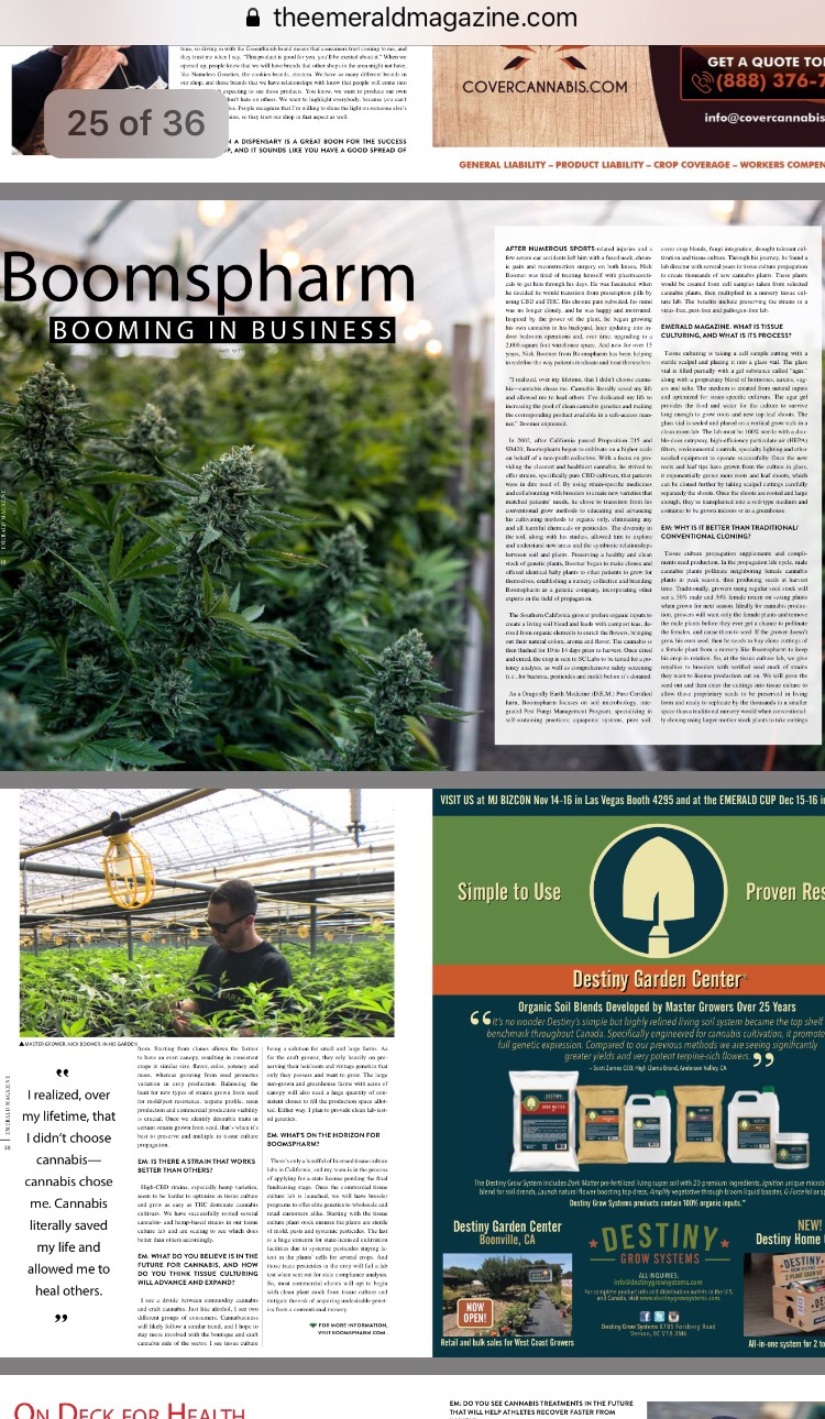 Boomspharm Featured in Emerald Magazine  CLICK HERE