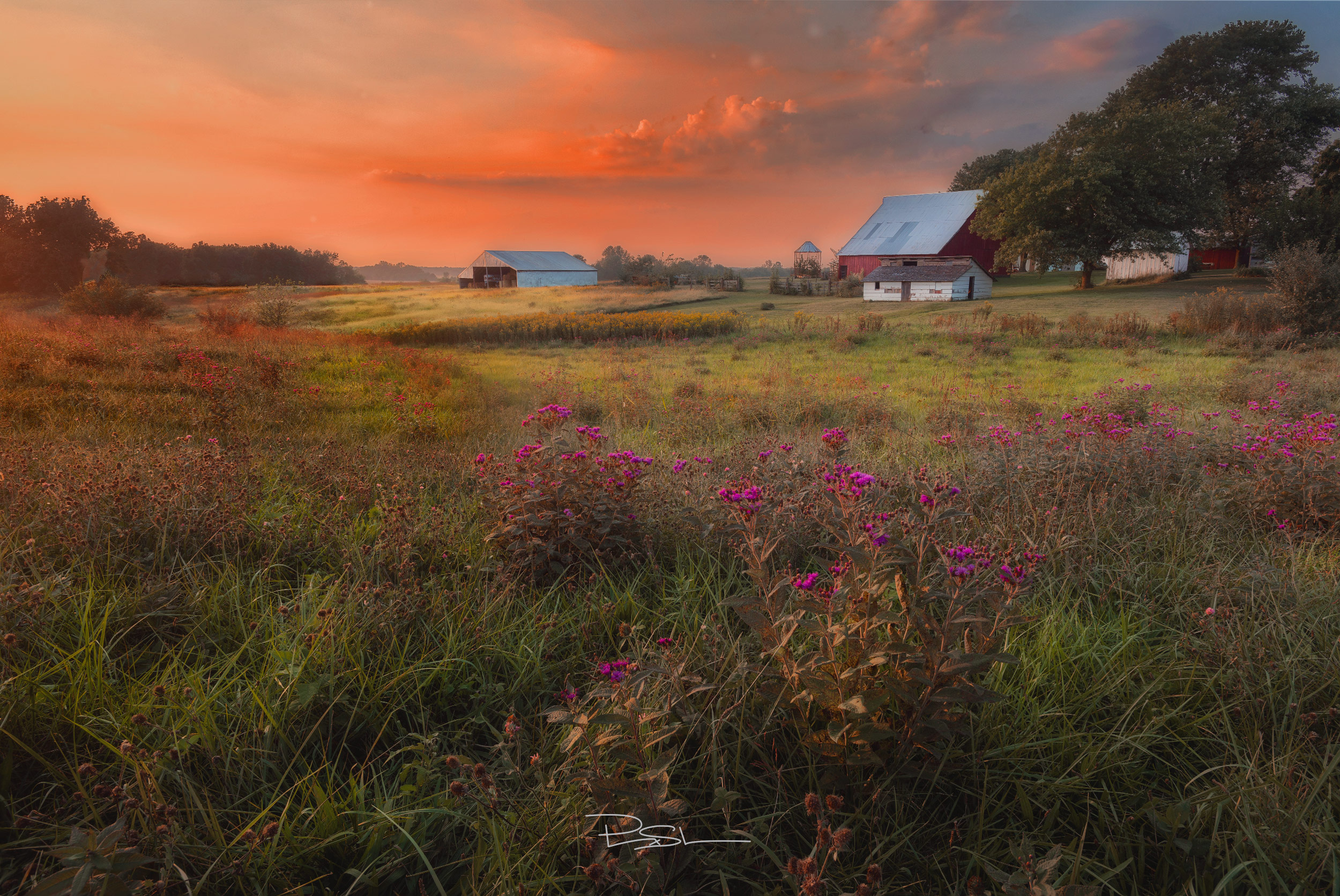 Brushy Mound - midwestern barn at sunset