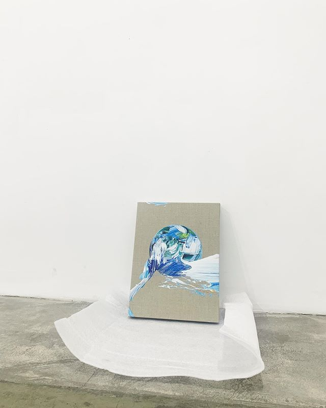 Installing 'small awakenings' at @choiandlager Seoul.  Blue Sphere - 30 x 40cm - Digital print on linen - 2019