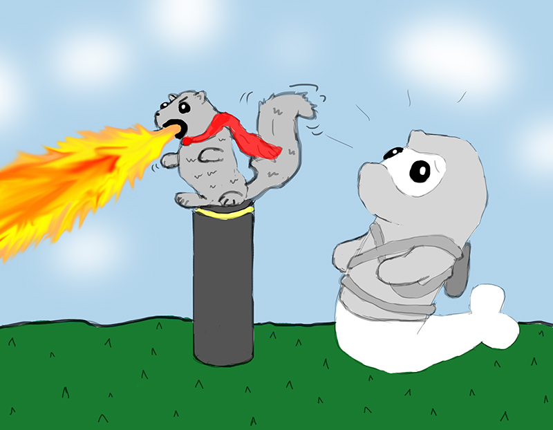 Random sketch: Ninja Seal discovers the elusive fire-breathing squirrel