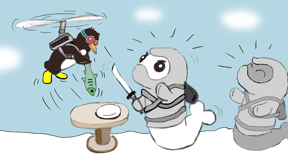 Random sketch: A cheeky penguin interrupts the Ninja Seals during dinner