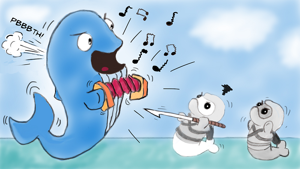 Random sketch: Ninja Seals deliver a stern warning to an insufferable whale...