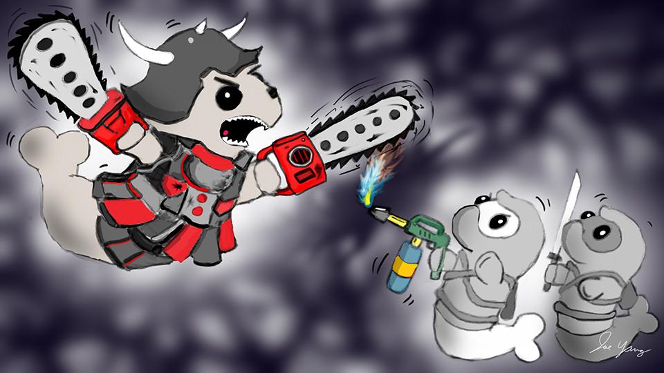 Random sketch: The Ninja Seals encounter the mysterious Chainsaw Samurai!
